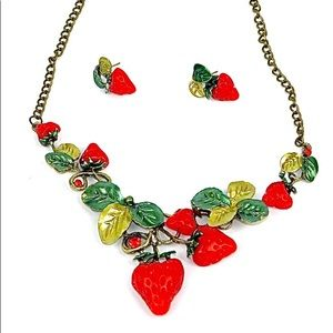 Strawberries necklace and earrings set